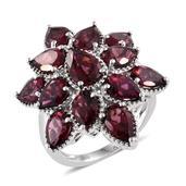 Blooming Desire Orissa Rhodolite Garnet Platinum Over Sterling Silver Star Gaze Ring (Size 6.0) TGW 12.45 cts.
