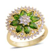 Russian Diopside, Tanzanite 14K YG Over Sterling Silver Ring (Size 10.0) TGW 3.130 cts.