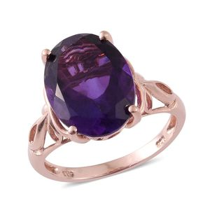 Lusaka Amethyst 14K RG Over Sterling Silver Ring (Size 7.0) TGW 8.350 cts.