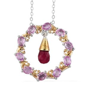 Ruby, Madagascar Pink Sapphire 14K YG and Platinum Over Sterling Silver Open Drop Pendant With Chain (20 in) TGW 3.250 Cts.