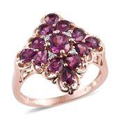 Purple Garnet, White Zircon 14K RG Over Sterling Silver Ring (Size 8.0) TGW 3.23 cts.