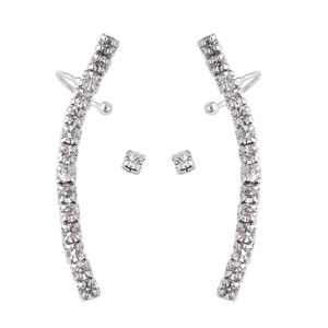 Austrian Crystal Silvertone Single Stud and Ear Cuff Earrings