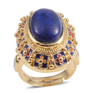 Lapis Lazuli Goldtone Statement Ring (Size 6.0) TGW 6.00 cts.