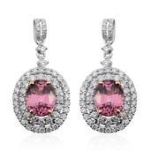 14K WYG Malaya Garnet, Diamond Earrings TDiaWt 1.31 cts, TGW 5.33 cts.