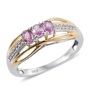 Madagascar Pink Sapphire, White Zircon 14K YG and Platinum Over Sterling Silver Split Ring (Size 7.0) TGW 0.61 cts.
