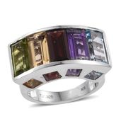 Everlasting by Katie Rooke Mozambique Garnet, Multi Gemstone Platinum Over Sterling Silver Ring (Size 7.0) TGW 12.396 cts.