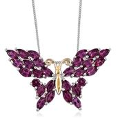 Purple Garnet 14K YG and Platinum Over Sterling Silver Butterfly Pendant With Chain (20 in) TGW 5.200 Cts.