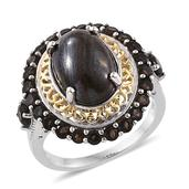 Tiger Iron, Brazilian Smoky Quartz 14K YG and Platinum Over Sterling Silver Ring (Size 7.0) TGW 10.300 cts.