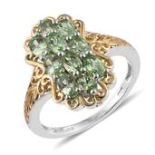 Brazilian Mint Garnet 14K YG and Platinum Over Sterling Silver Openwork Ring (Size 10.0) TGW 2.660 cts.