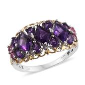 Lusaka Amethyst, Mahenge Pink Spinel 14K YG and Platinum Over Sterling Silver Ring (Size 9.0) TGW 4.36 cts.