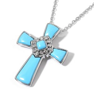 Blue Chroma, Austrian Crystal Stainless Steel Cross Pendant With Chain (20 in) TGW 30.00 cts.