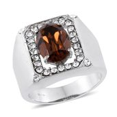 Stainless Steel Men's Ring (Size 11.0) Made with SWAROVSKI Smoked Topaz and White Crystal TGW 6.050 cts.