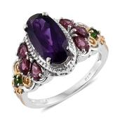 Lusaka Amethyst, Multi Gemstone 14K YG and Platinum Over Sterling Silver Ring (Size 7.0) TGW 4.63 cts.