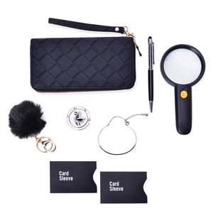 TLV 8 Piece Black Faux Leather Wallet, RFID Card Holder Set, Pom Pom Keychain, Magnify Glass, White Austrian Crystal Enameled Bag Hanger, Stainless Steel Bangle, Pen (7.50 in)