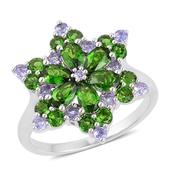 Russian Diopside, Tanzanite Sterling Silver Ring (Size 10.0) TGW 3.00 cts.