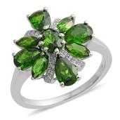 Russian Diopside, White Zircon Sterling Silver Ring (Size 7.0) TGW 3.350 cts.