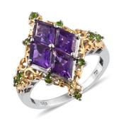 Lusaka Amethyst, Russian Diopside 14K YG and Platinum Over Sterling Silver Ring (Size 10.0) TGW 6.790 cts.