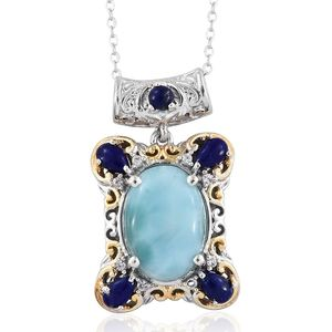 Larimar, Lapis Lazuli, White Zircon 14K YG and Platinum Over Sterling Silver Midnight Sky Pendant With Chain (20 in) TGW 8.37 cts.