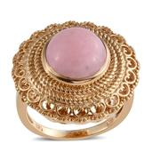 Peruvian Pink Opal 14K YG Over Sterling Silver Ring (Size 9.0) TGW 6.30 cts.