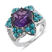 Lusaka Amethyst, Arizona Sleeping Beauty Turquoise, White Topaz Platinum Over Sterling Silver Ring (Size 7.0) TGW 8.730 cts.