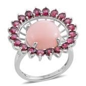 Peruvian Pink Opal, Orissa Rhodolite Garnet Platinum Over Sterling Silver Openwork Statement Ring (Size 10.0) TGW 9.55 cts.