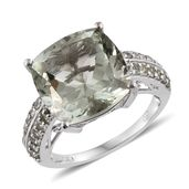 Green Amethyst, Green Sapphire Platinum Over Sterling Silver Ring (Size 7.0) TGW 13.050 cts.
