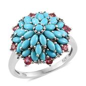 Mahenge Pink Spinel, Arizona Sleeping Beauty Turquoise, Cambodian Zircon Platinum Over Sterling Silver Ring (Size 6.0) TGW 3.380 cts.