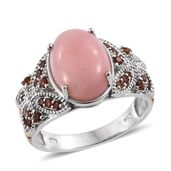 Peruvian Pink Opal, Mozambique Garnet Platinum Over Sterling Silver Ring (Size 7.0) TGW 5.78 cts.