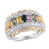 Multi Sapphire, Cambodian Zircon 14K YG and Platinum Over Sterling Silver Ring (Size 8.0) TGW 3.710 cts.