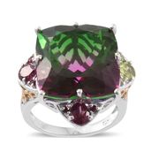 Watermelon Quartz, Hebei Peridot, Orissa Rhodolite Garnet 14K YG and Platinum Over Sterling Silver Ring (Size 8.0) TGW 29.32 cts.