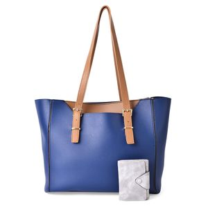 Blue, Tan and Gray Faux Leather Tote Bag (13x11x5 in) and Tri-Fold Wallet (4x3 in)