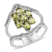 Arizona Peridot, White Zircon Platinum Over Sterling Silver Double Band Ring (Size 5.0) TGW 3.16 cts.