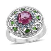 Pure Pink Mystic Topaz, Electric Blue Topaz, Enameled Platinum Over Sterling Silver Openwork Ring (Size 10.0) TGW 2.95 cts.