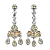 Brazilian Canary Chrysoberyl, Green Sapphire 14K YG and Platinum Over Sterling Silver Chandelier Earrings TGW 3.58 cts.