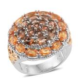 Yellow and Orange Sapphire, Jenipapo Andalusite 14K YG and Platinum Over Sterling Silver Ring (Size 9.0) TGW 6.310 cts.