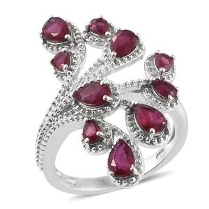 Niassa Ruby Platinum Over Sterling Silver Openwork Elongated Ring (Size 7.0) TGW 3.800 cts.