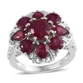 Niassa Ruby Platinum Over Sterling Silver Ring (Size 7.0) TGW 8.10 cts.