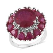 Niassa Ruby, Cambodian Zircon Platinum Over Sterling Silver Statement Ring (Size 8.0) TGW 15.20 cts.