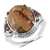 Cherrycreek, Simulated Garnet Diamond Stainless Steel Ring (Size 7.0) TGW 17.750 cts.
