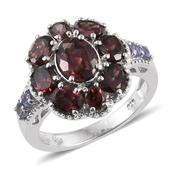 Red Zircon, Tanzanite Platinum Over Sterling Silver Ring (Size 6.0) TGW 6.200 cts.