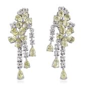 Brazilian Canary Chrysoberyl, White Topaz Platinum Over Sterling Silver Floral Drop Earrings TGW 6.60 cts.