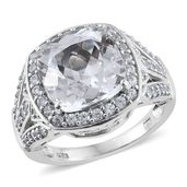 Urukun Kunzite, White Zircon Platinum Over Sterling Silver Ring (Size 8.0) TGW 6.010 cts.