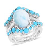 Larimar, Arizona Sleeping Beauty Turquoise Sterling Silver Set of 3 Stackable Rings (Size 7) TGW 4.87 cts.
