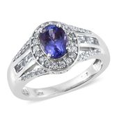 Premium AAA Tanzanite, White Zircon Platinum Over Sterling Silver Ring (Size 6.0) TGW 2.39 cts.