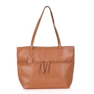 Tan 100% Genuine Leather RFID Tote Bag (12.5x5x12 in)