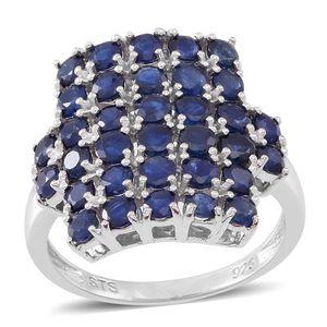 Kanchanaburi Blue Sapphire Sterling Silver Cluster Ring (Size 7.0) TGW 5.10 cts.
