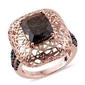 GP Chocolate Sapphire, Thai Black Spinel 14K RG Over Sterling Silver Openwork Ring (Size 7.0) TGW 7.50 cts.