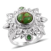 KARIS Collection - Mojave Green Turquoise, Simulated Green Diamond Platinum Bond Brass Ring (Size 9.0) TGW 4.450 cts.
