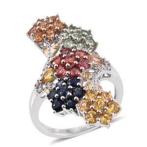 Multi Sapphire, White Zircon 14K YG and Platinum Over Sterling Silver Elongated Floral Bypass Ring (Size 7.0) TGW 6.09 cts.