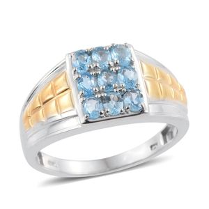 Marambaia Topaz 14K YG and Platinum Over Sterling Silver Men's Ring (Size 12.0) TGW 1.690 cts.